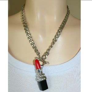 Red Silver Lipstick Link Chain Necklace